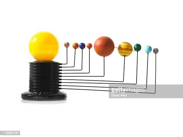 Solar system model on white background