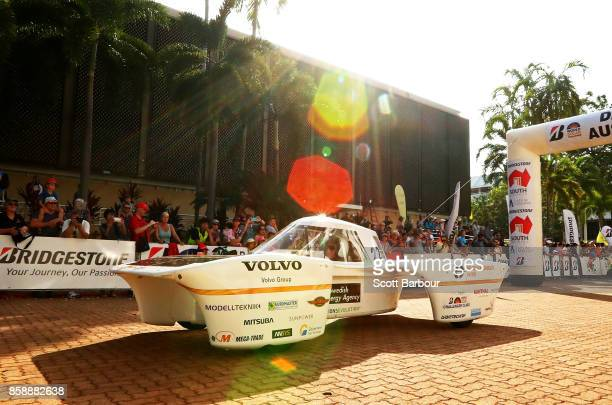 Solar Team vehicle 'MDH Solar Car' of Sweden leaves the start line as they begin racing on Day 1 of the 2017 Bridgestone World Solar Challenge at...