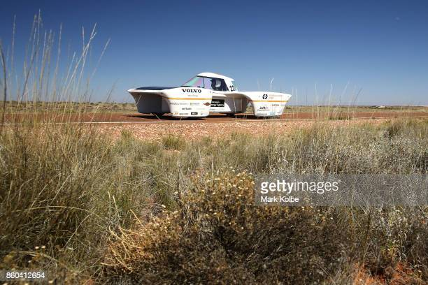 MDH Solar Team vehicle 'MDH Solar Car' of Sweden races between Marla Bore and Coober Pedy on Day 5 of the 2017 Bridgestone World Solar Challenge on...
