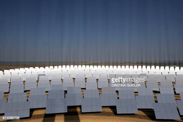 A solar thermal power electric power plant in Sanlucar La Mayor on February 13 2008 The plant works by using sunlight to generate heat To generate...