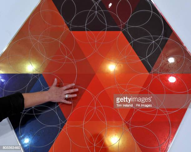 A Solar Tile prototype at the Sunny Memories exhibition at the Royal College of Art London which is made from a new generation of solar cells and...