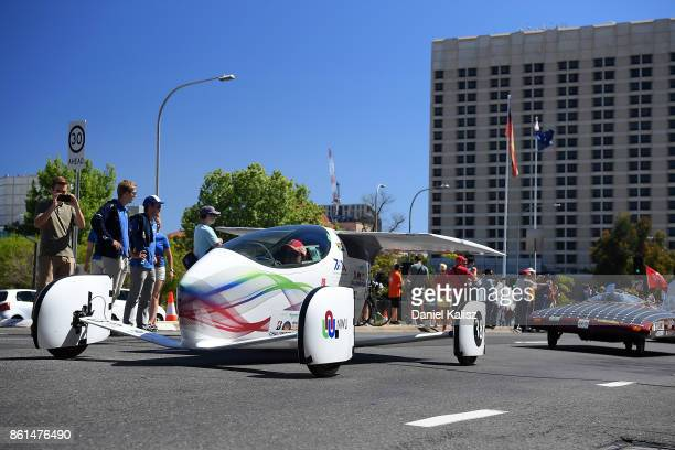 Solar vehicle 'Naledi' from South Africa competes during a street parade for the 2017 Bridgestone World Solar Challenge down Wakefield Street in...