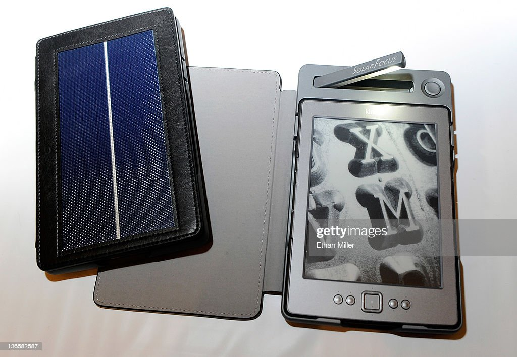 SolarKindle Lighted Covers, the first solar book covers for Amazon Kindle e-readers by SolarFocus Technology Co. are displayed during a press event at The Venetian for the 2012 International Consumer Electronics Show (CES) January 8, 2012 in Las Vegas, Nevada. The USD 17.99 covers can hold a charge for up to 50 hours of use and come with a built-in LED reading light. CES, the world's largest annual consumer technology trade show, runs from January 10-13 and is expected to feature 2,700 exhibitors showing off their latest products and services to about 140,000 attendees.