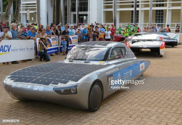 A solarpowered car waits for the start in Darwin on Oct 8 2017 of a 3000kilometer endurance race through the center of Australia A total of 38 solar...