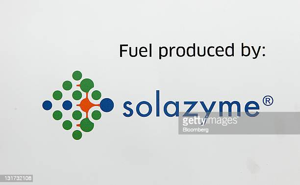 Solazyme Inc signage is displayed on a fuel truck at George Bush Intercontinental Airport in Houston Texas US on Monday Nov 7 2011 United Continental...