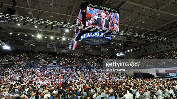 A sold out coliseum listens to Republican presidential candidate Donald Trump during a campaign event at Trask Coliseum on August 9 2016 in...