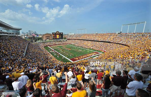 A sold out crowd fills TCF Bank Stadium as the Minnesota Golden Gophers play an NCAA football game against the California Golden Bears on September...