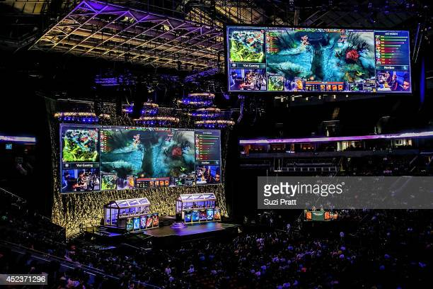 A sold out crowd fills the seats of Seattle's Key Arena at The International DOTA 2 Championships on July 18 2014 in Seattle Washington