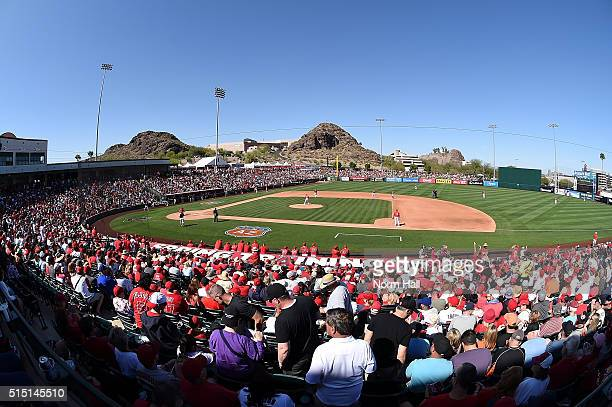 A sold out crowd for a game between the San Francisco Giants and the Los Angeles Angels of Anaheim at Tempe Diablo Stadium on March 12 2016 in Tempe...