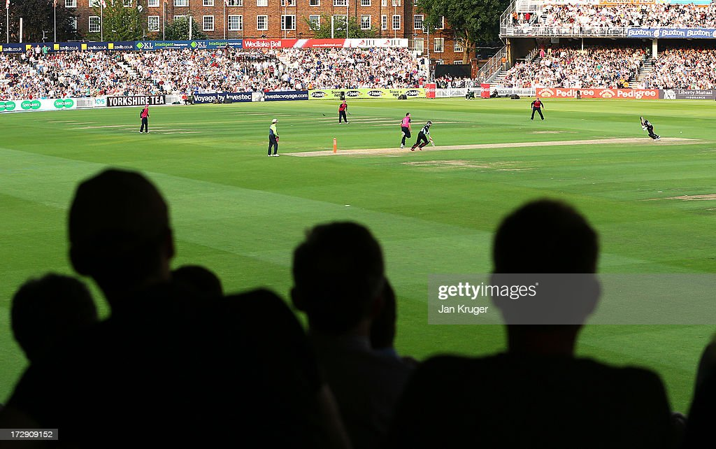 A sold out crowd look on during the Friends Life T20 match between Surrey Lions and Middlesex Panthers at The Kia Oval on July 5, 2013 in London, England.