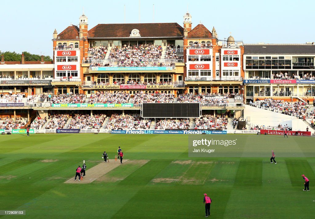 A sold out crowd look on during the Friends Life T20 match between Surrey Lions and Middlesex Panthers at The Kia Oval on July 5 2013 in London...