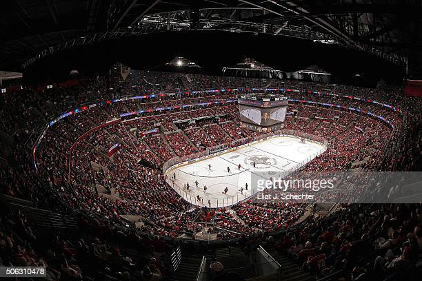 A sold out crowd watches the Florida Panthers battle the Chicago Blackhawks at the BBT Center on January 22 2016 in Sunrise Florida