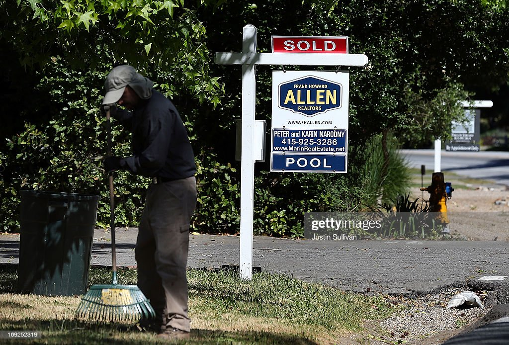 A sold sign is posted in front of a home for sale on May 22, 2013 in San Anselmo, California. According to a report by the National Association of Realtors, sales of existing homes inched up 0.6% to a seasonally adjusted annual rate of 4.97 million, up from 4.94 million in March, the highest level since 2009.