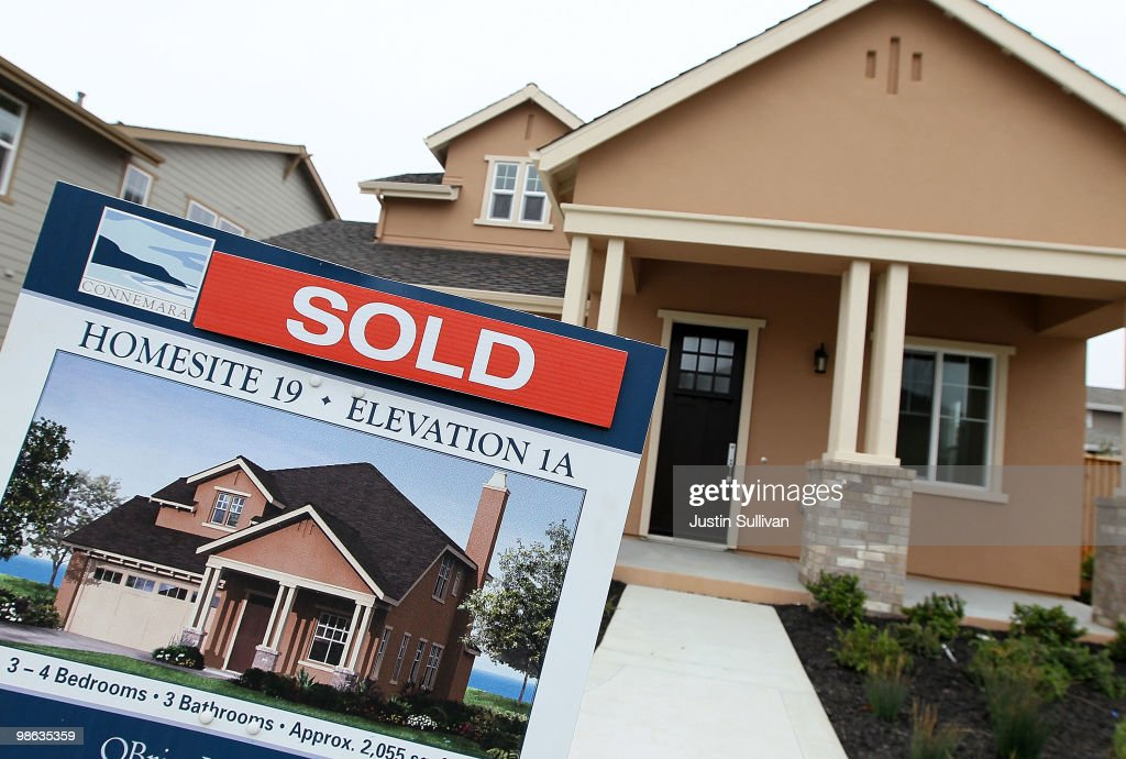 A sold sign is posted in front of a new home in a housing development April 23 2010 in Pacifica California Sales of new homes surged nearly 27...