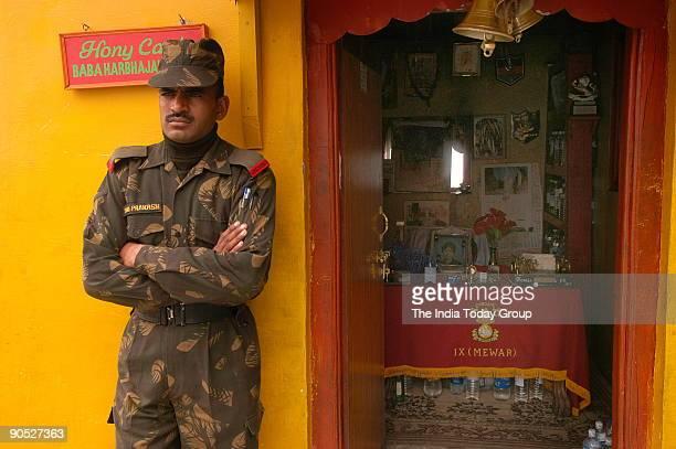 Soldier at the Baba Harbhajan Singh office Nathu La China Border