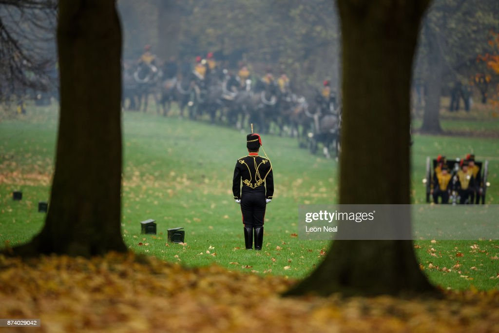 A soldier awaits the return of the horses after members of the King's Troop Royal Horse Artillary took part in a 41-gun salute to mark the 69th birthday of the Prince of Wales at Green Park on November 14, 2017 in London, England. Six First World War-era 13 pounder Field Guns were used to fire the salute, while another gun salute took place at the Tower of London.