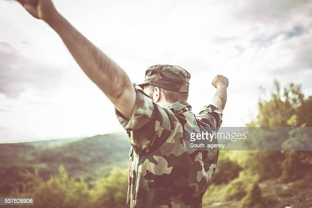 Soldier celebrating freedom