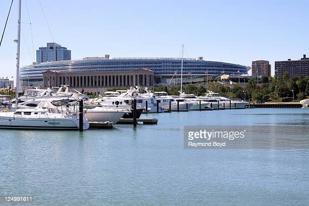 Soldier Field serves as a backdrop as boats dock in Burnham Harbor in Chicago Illinois on SEPT 07 2011