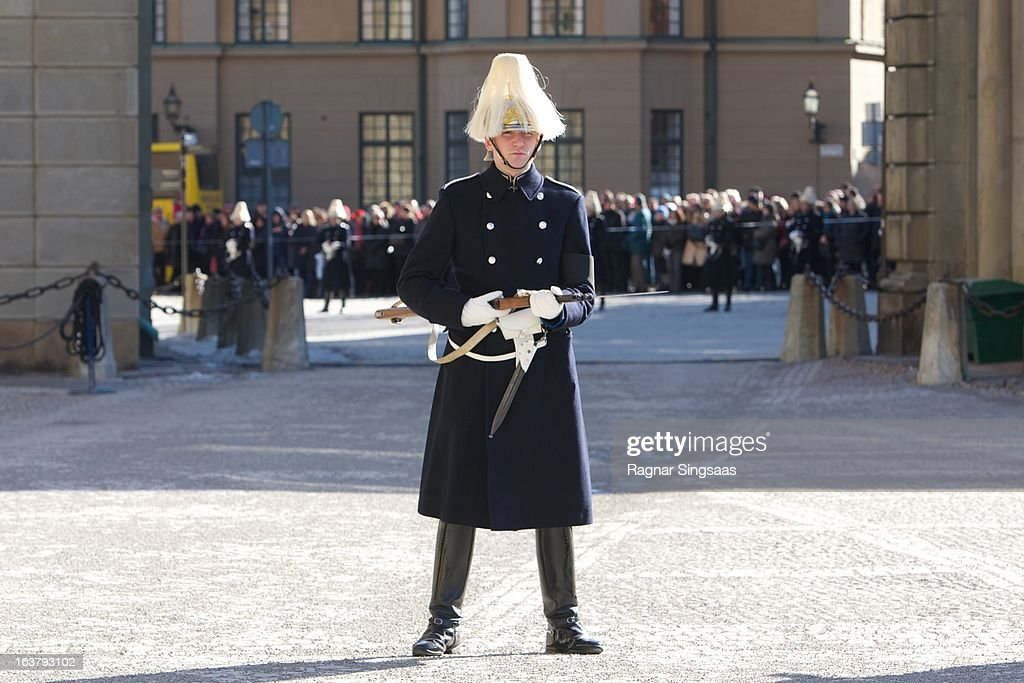 A soldier forms an honour guard in the grounds of the Royal Palace at the funeral of Princess Lilian Of Sweden on March 16, 2013 in Stockholm, Sweden.