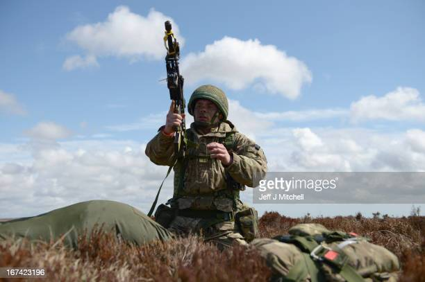 A soldier from 2nd Battalion Parachute Regiment in action during a British And French Airborne Forces joint exercise on April 25 2013 in Stranraer...