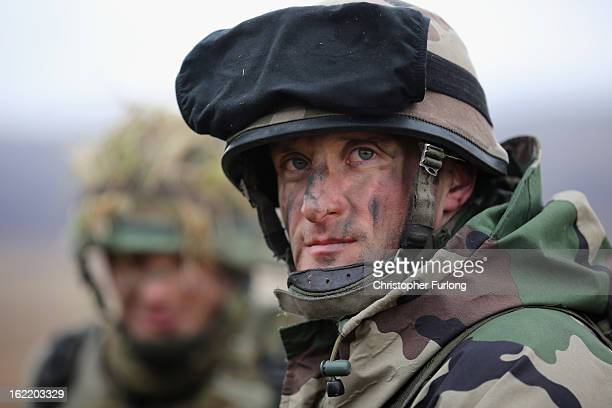 A soldier from the French Army mans an observation point duriung an exercise with the Royal Artillery on February 20 2013 in Otterburn United Kingdom...