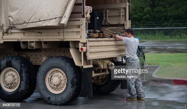 Soldier from the USA Army prepares to refuel their expecting helicopter at the MCHD EMS Station 30 heliport during Hurricane Harvey in Humble TX...