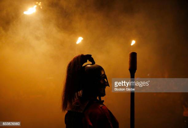 A soldier from Wargar kept watch inside Thunderdome as smoke filled the air before the start of the evening battles at Ragnarok XXXII on June 21 2017...