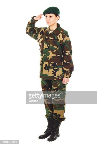 Soldier girl in the military uniform : Stock Photo