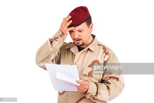 Soldier hold letter