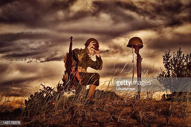 WWII Soldier Honoring His Fallen Friend
