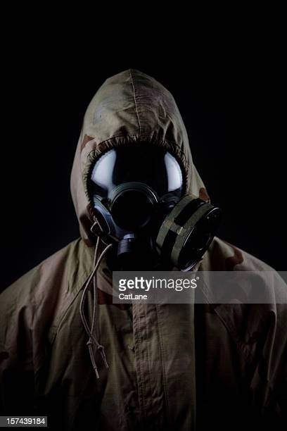 US Soldier in Chemical Warfare Suit