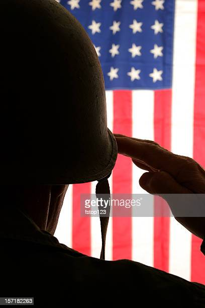 WWII soldier in field dress uniform saluting American flag