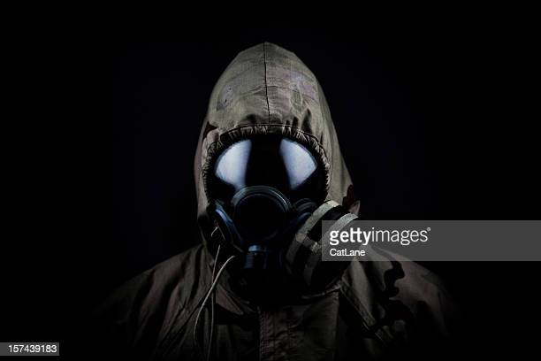 Soldier in gas mask