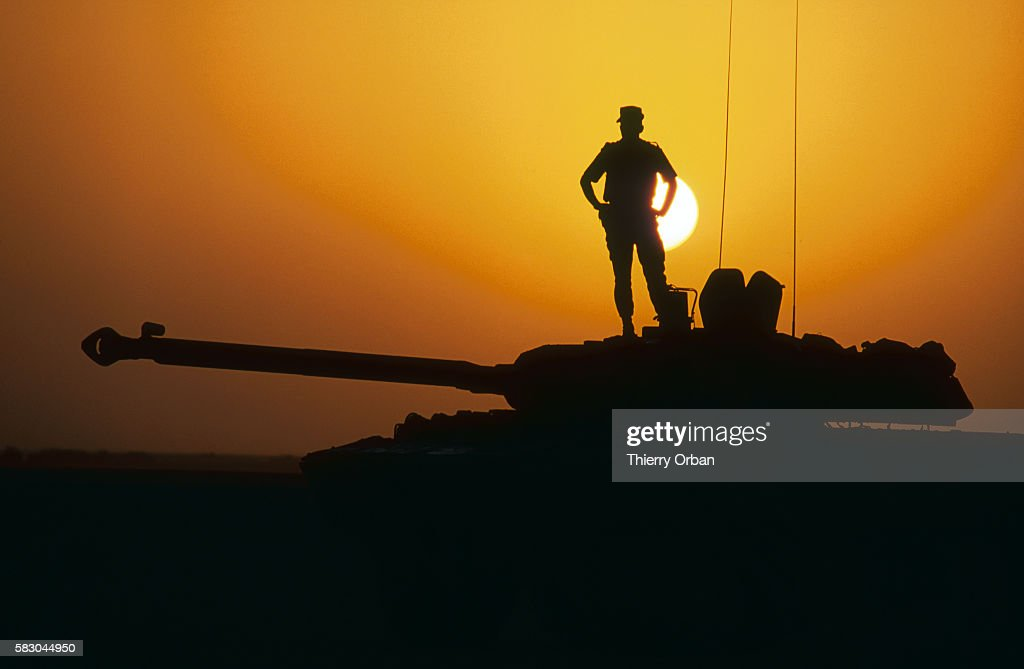 A soldier in the French cavalry stands on a tank upon his arrival in Saudi Arabia during the Persian Gulf War In August of 1990 Iraqi president...