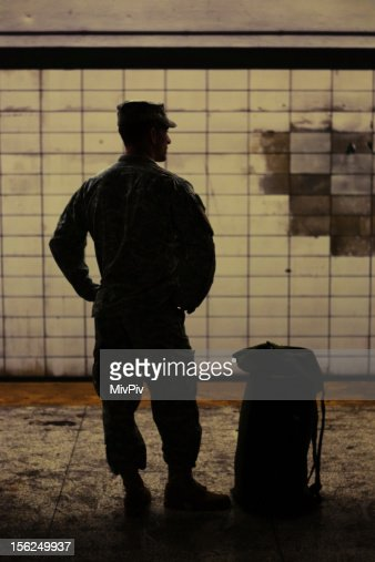 Soldier in the subway