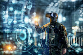 Soldier in glasses of virtual reality.  Military concept of the future.