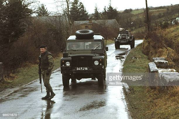 A soldier looks for roadside bombs during a British armoured patrol in County Fermanagh close to the border with the Republic of Ireland 28th January...
