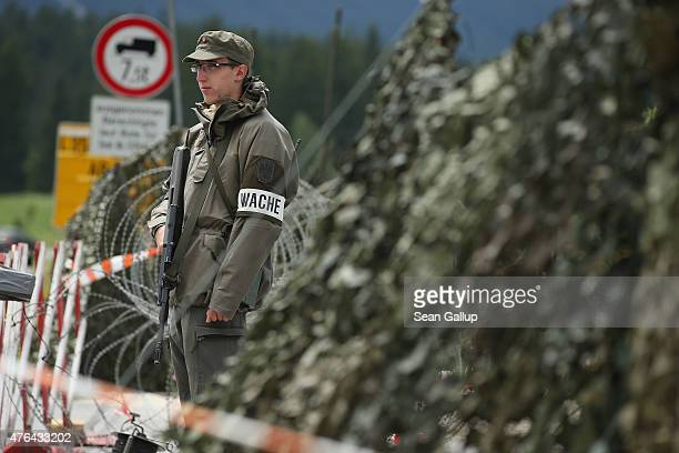 A soldier of the Austrian army stands at a mobile radar station that is safeguarding the upcoming Bilderberg conference on June 9 2015 near Telfs...
