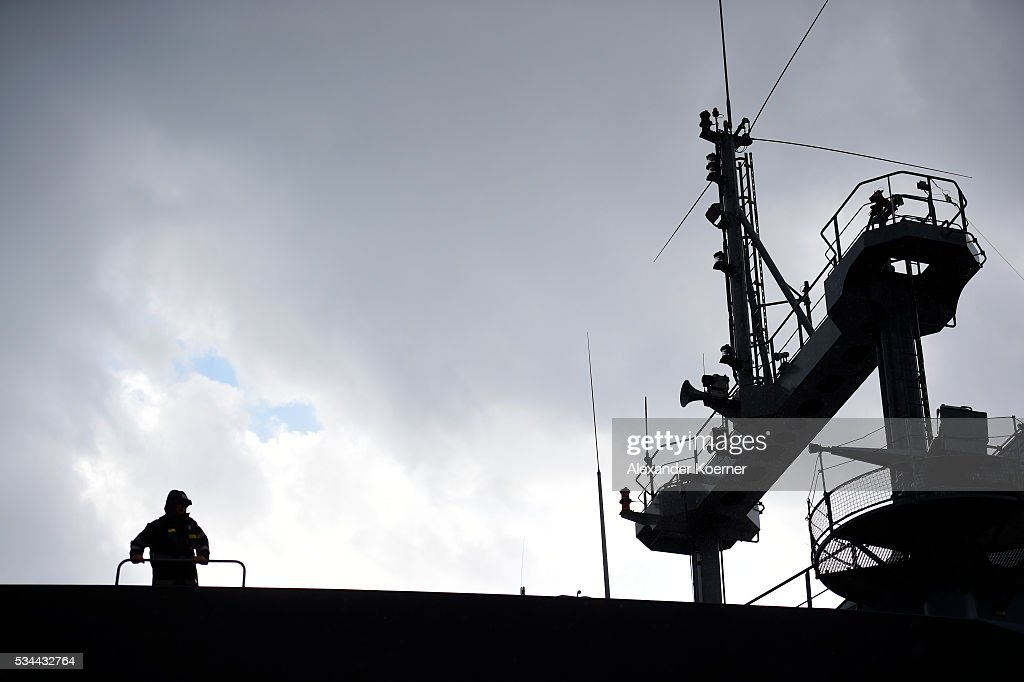A soldier of the German Navy looks on while on board of the German combat support ship 'Bonn' at the port of Izmir on May 26, 2016 in Izmir, Turkey. NATO's Standing Maritime Group 2 is currently deployed in the region between the mainland of Greece and Turkey, and will conduct surveillance and monitor illegal crossings in the Aegean Sea. The number of attempts by refugees to reach the islands of Greece has dropped rapidly.