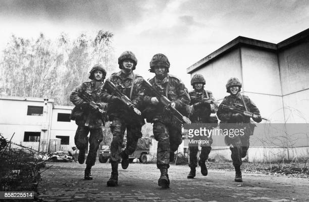 Soldier of the Kings regiment of the British Army in West Germany pictured during training at fighting city 7th November 1989