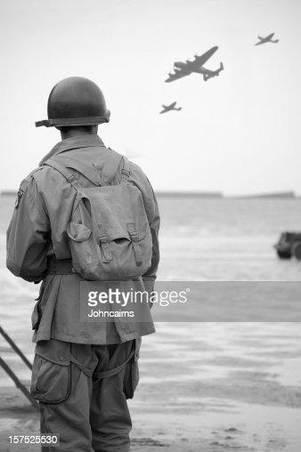 Soldier on  Omaha Beach.