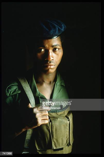 UNITA soldier poses January 23 1990 near Jamba Angola The National Union for the Total Independence of Angola and the Marxist forces in the capital...