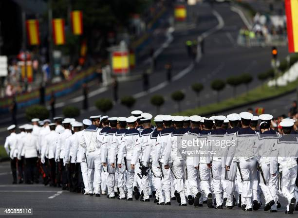 Soldier prepare at Cibeles square before the King's official coronation ceremony at Cibeles square on June 19 2014 in Madrid Spain The coronation of...