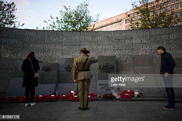 A soldier salutes after laying a wreath on the Australian War Memorial at Hyde Park Corner following the ANZAC Day dawn service on April 25 2017 in...