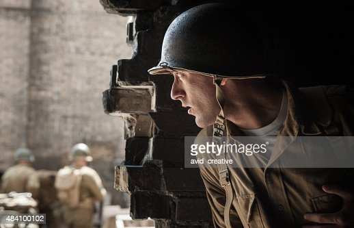 WWII Soldier Spy Hiding Behind Wall