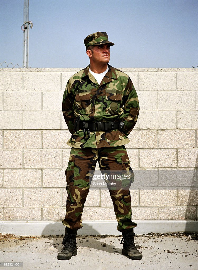 Soldier standing gaurd at military base : Stock Photo