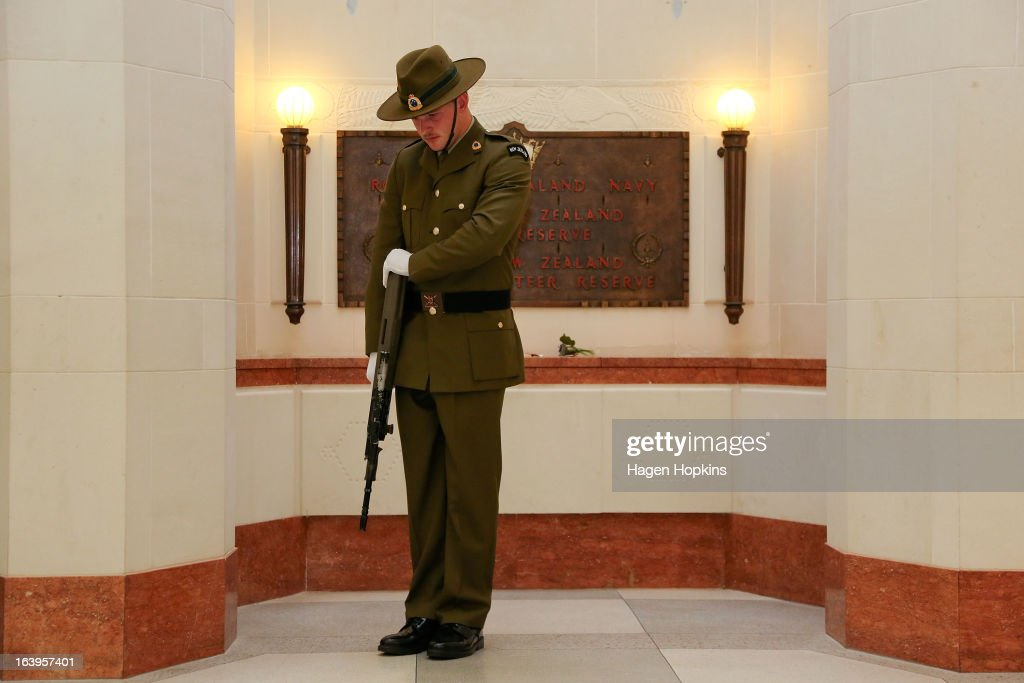 A soldier stands guard during a wreath-laying ceremony to acknowledge both Afghan and New Zealand losses in Afghanistan at the National War Memorial on March 19, 2013 in Wellington, New Zealand. Afghan Foreign Minister Dr Zalmai Rassoul is on the second day of a two day visit to New Zealand for bilateral talks.