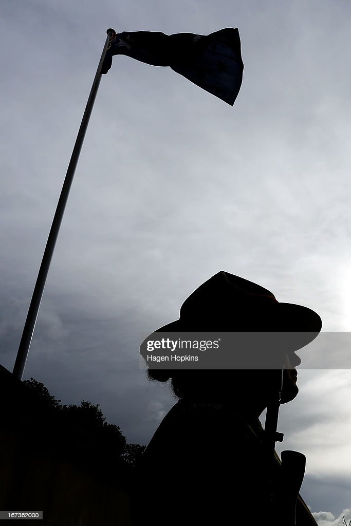A soldier stands guard during the National Commemorative Service at the National War Memorial on April 25, 2013 in Wellington, New Zealand. Veterans, dignitaries and members of the public today marked the 98th anniversary of ANZAC (Australia New Zealand Army Corps) Day, April 25, 1915 when allied New Zealand and Australian First World War forces landed on the Gallipoli Peninsula. Commemoration events are held across both countries in remembrance of those who fought and died in all wars.