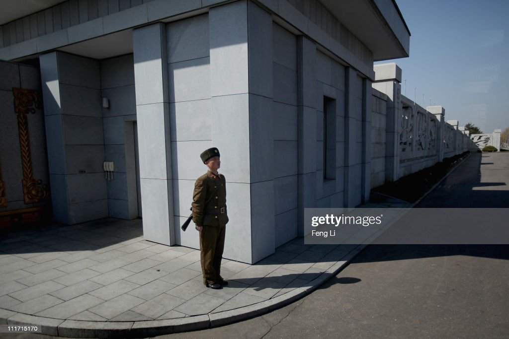 A soldier stands guard outside the Kim-Il-Sung Mausoleum at the Kumusan Memorial Palace on April 3, 2011 in Pyongyang, North Korea. Pyongyang is the capital city of North Korea and the population is about 2,500,000.