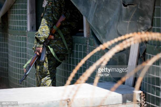 A Soldier stands in the protected outdoor area of Mogadishu airport on May 01 2017 in Mogadischu Somalia